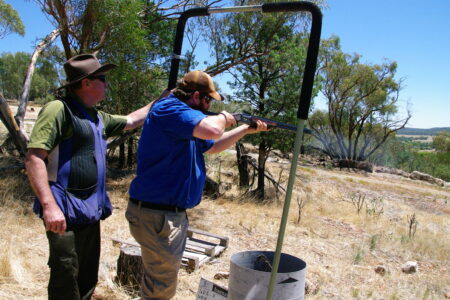 Firearms education and safety on a range